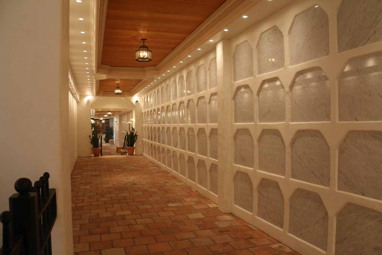 Inside the mausoleum where there were rows of cremated remains