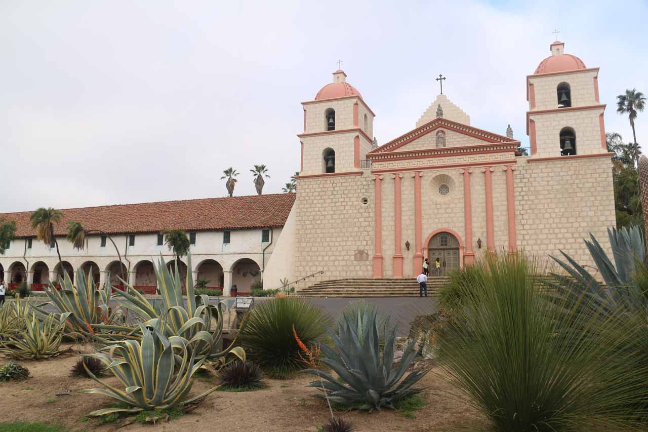 Back at the exterior of the Old Mission fronted by desert vegetation