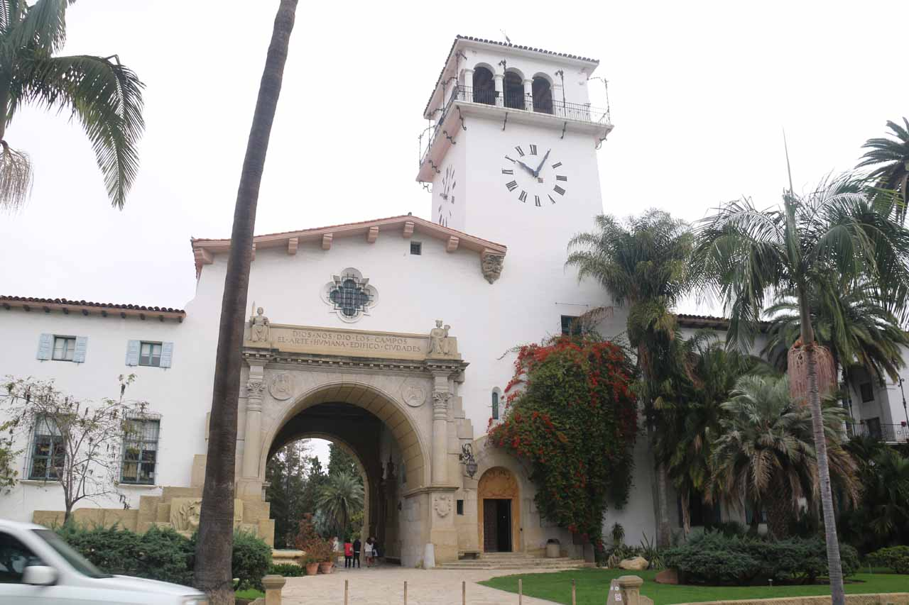 Approaching the Old Courthouse in downtown Santa Barbara