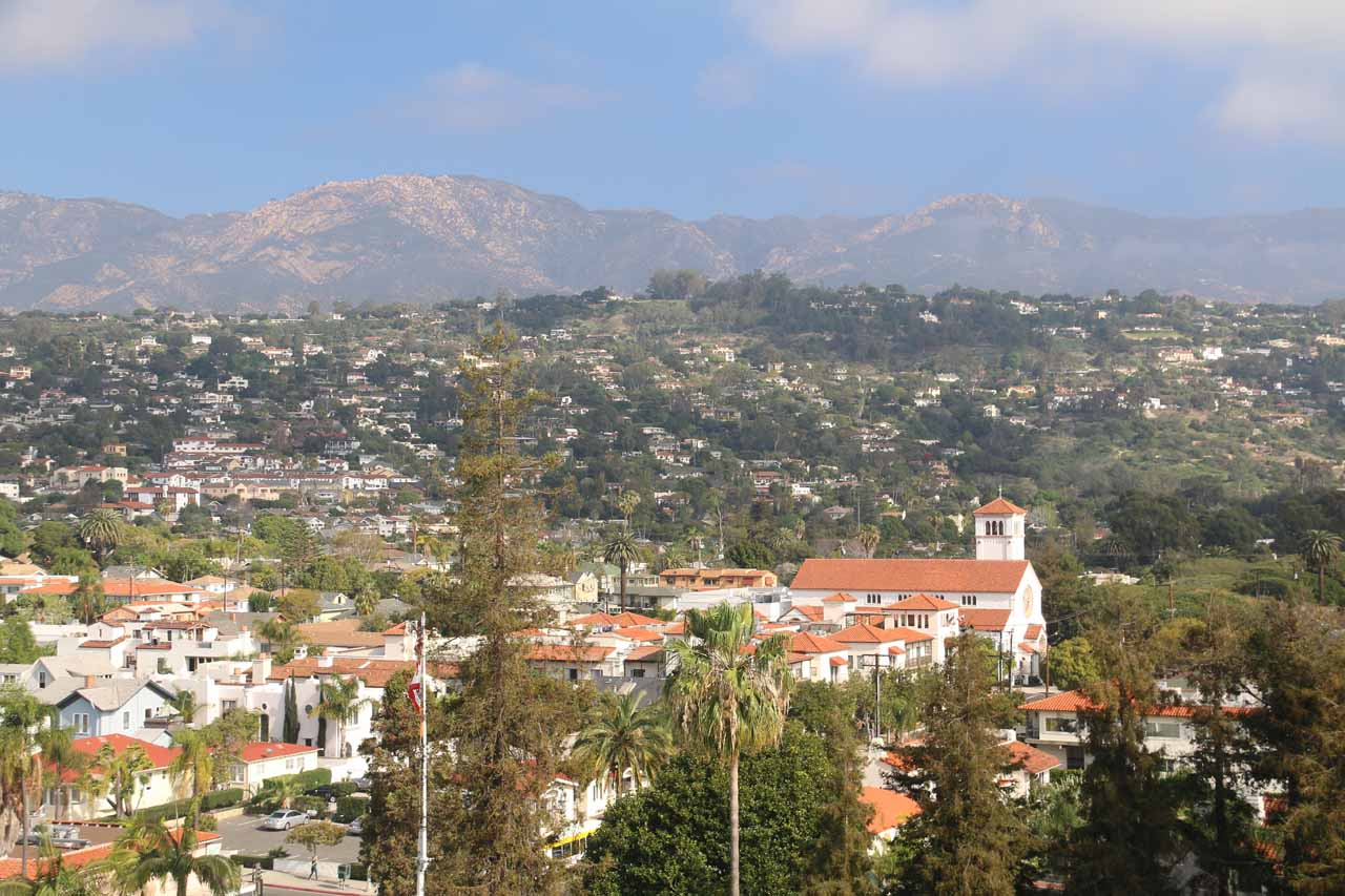 Looking over Santa Barbara towards the mountains backing it with clearing fog from the Clock Tower
