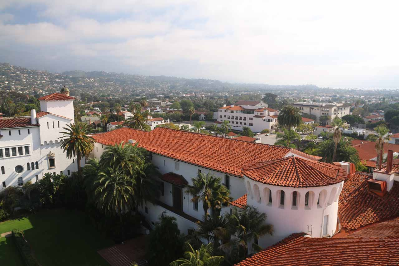 Looking over some Spanish-tiled rooftops of the Old Courthouse from the Clock Tower