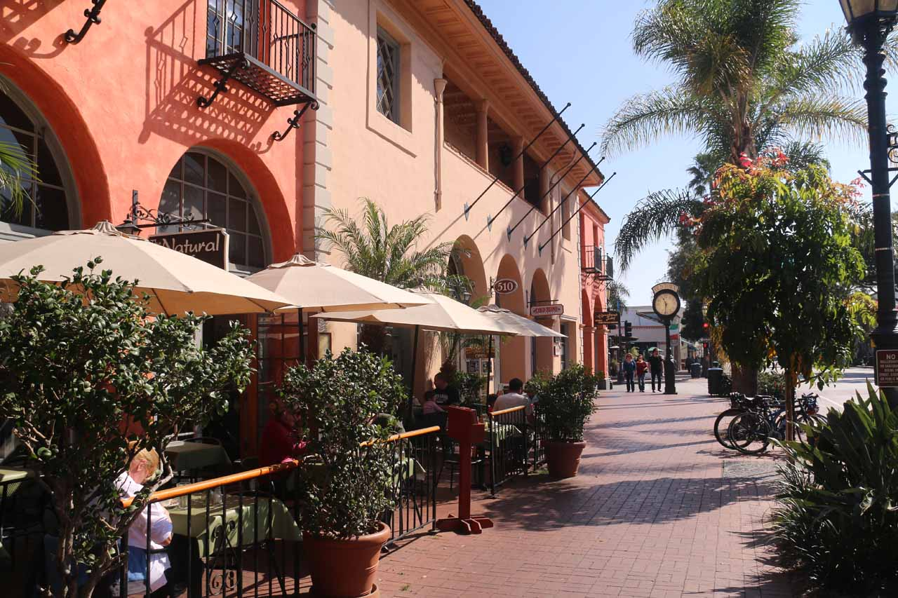 The front of the Natural Cafe at the southern end of downtown Santa Barbara