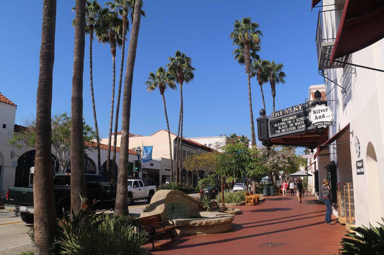 Walking along State Street in downtown Santa Barbara