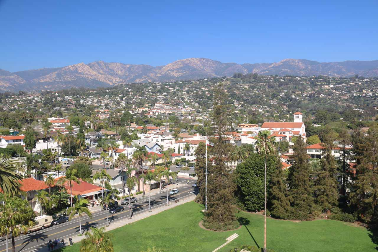 Looking towards the mountains backing Santa Barbara from the Clock Tower at the Old Courthouse