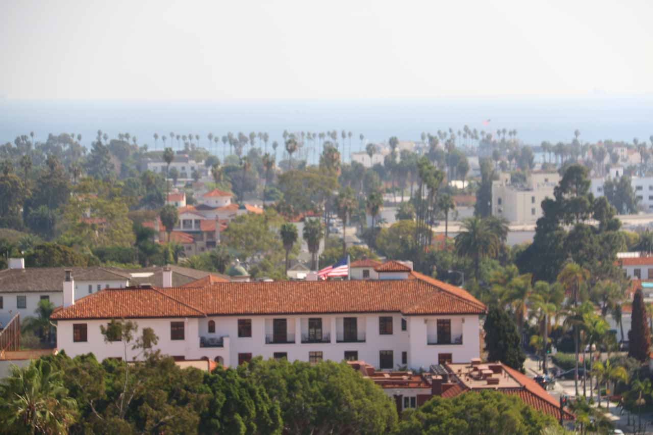 Looking over Santa Barbara towards the ocean with clearing fog from the Clock Tower