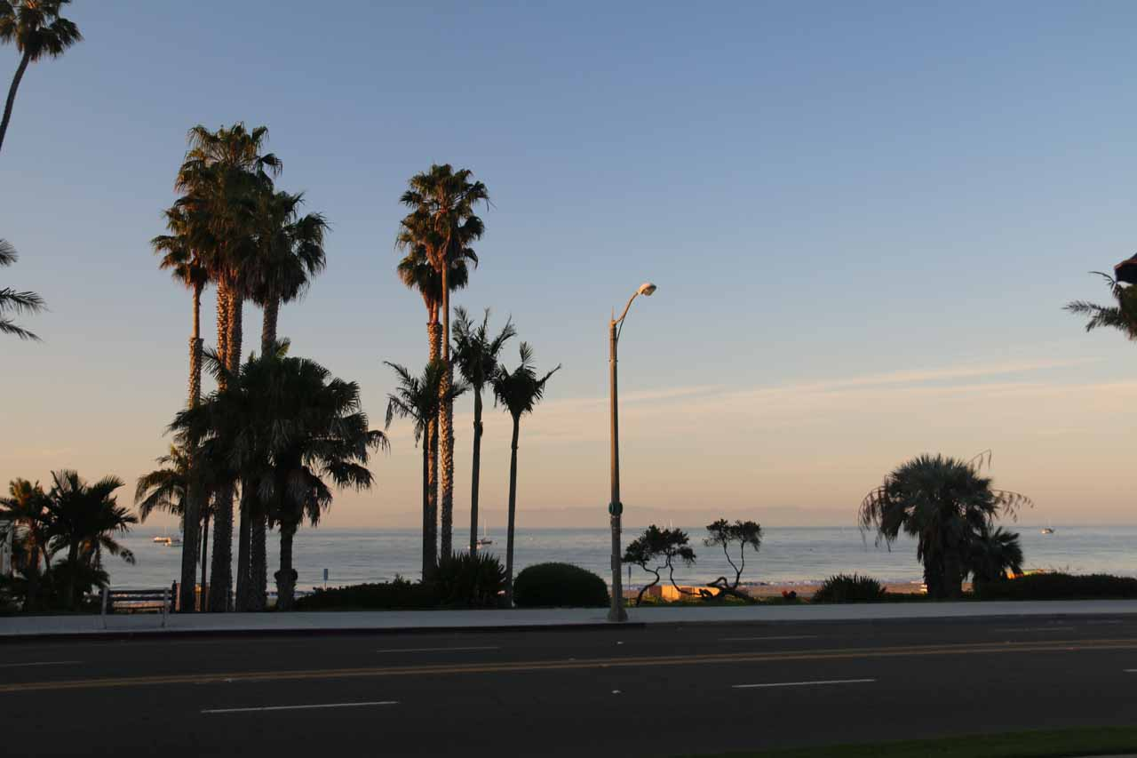 Looking towards the beach in the early morning from the Hyatt Centric Santa Barbara