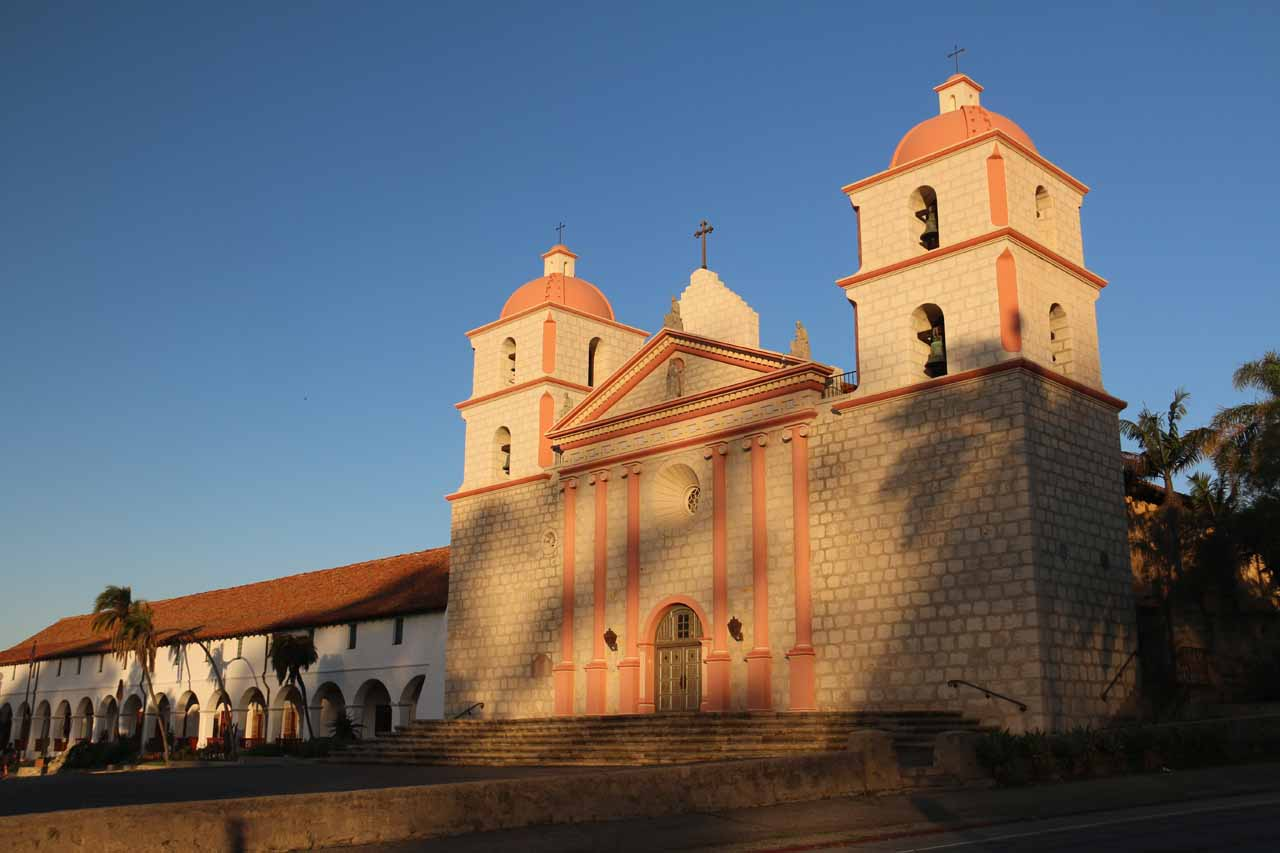 Early morning look at the Mission Santa Barbara