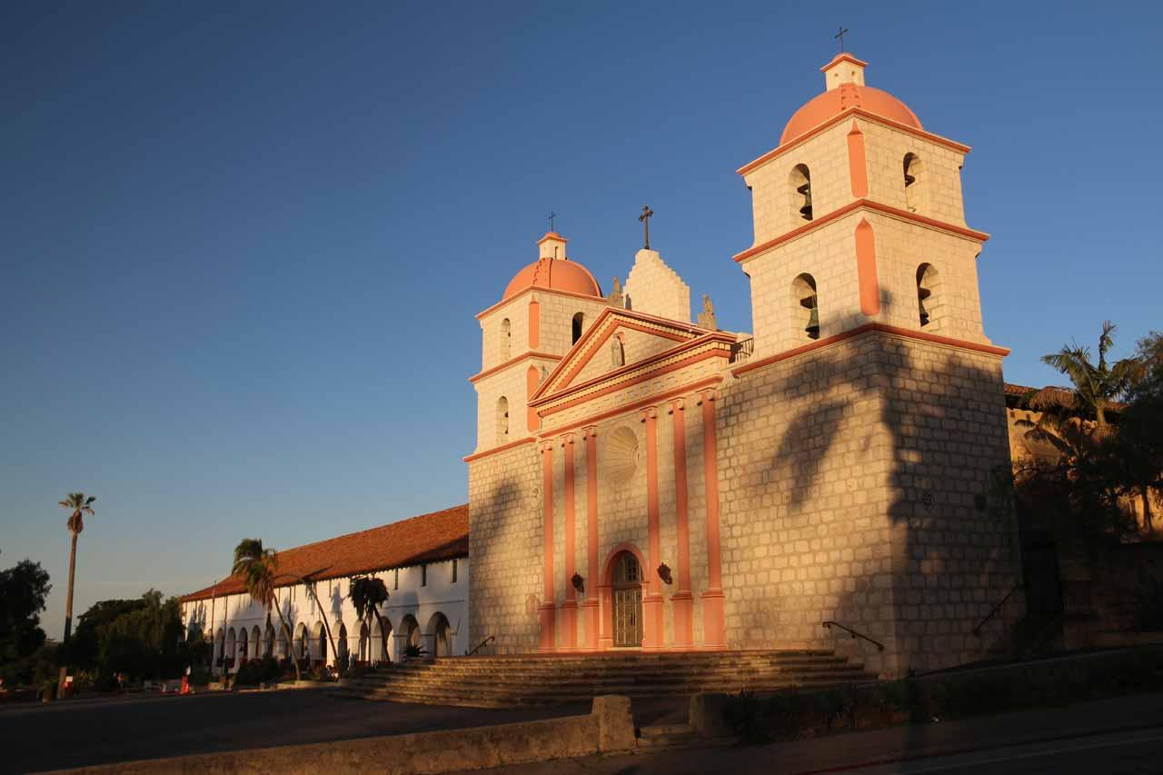 Early morning look at the Mission Santa Barbara