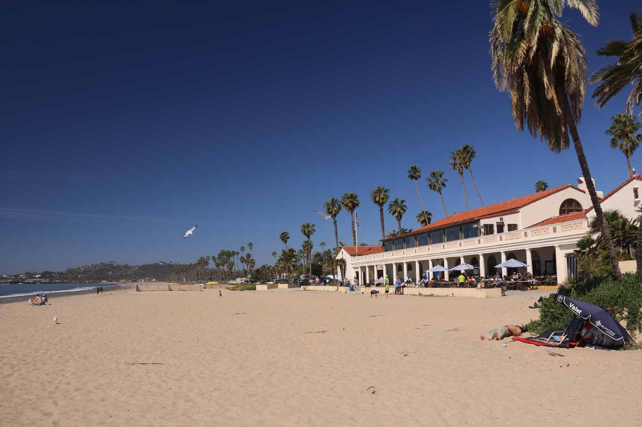 Looking northwards along the scenic beach at Santa Barbara across from the Hyatt Centric