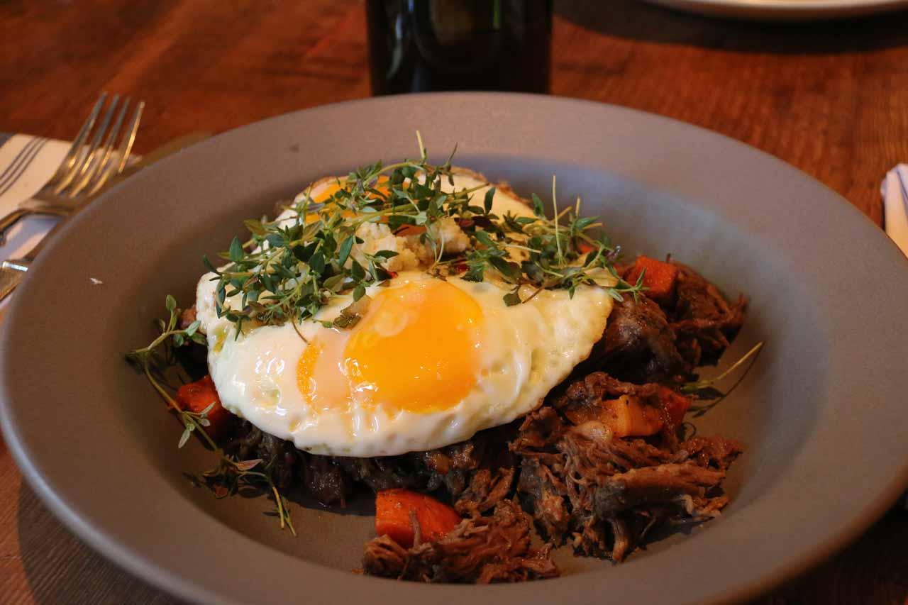 The slow roasted short rib dish at the Finch and Fork Restaurant