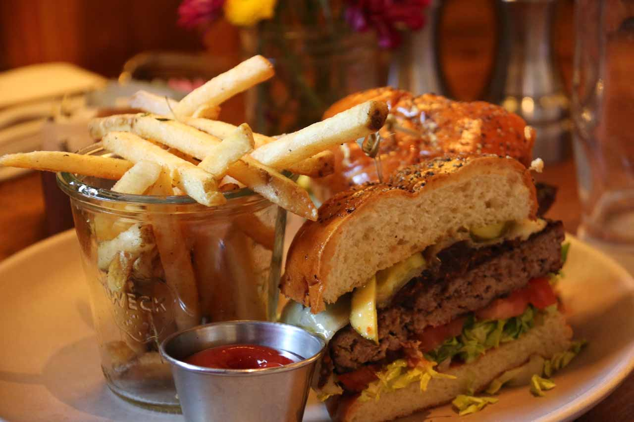 The juicy F and F burger at Finch and Fork Restaurant