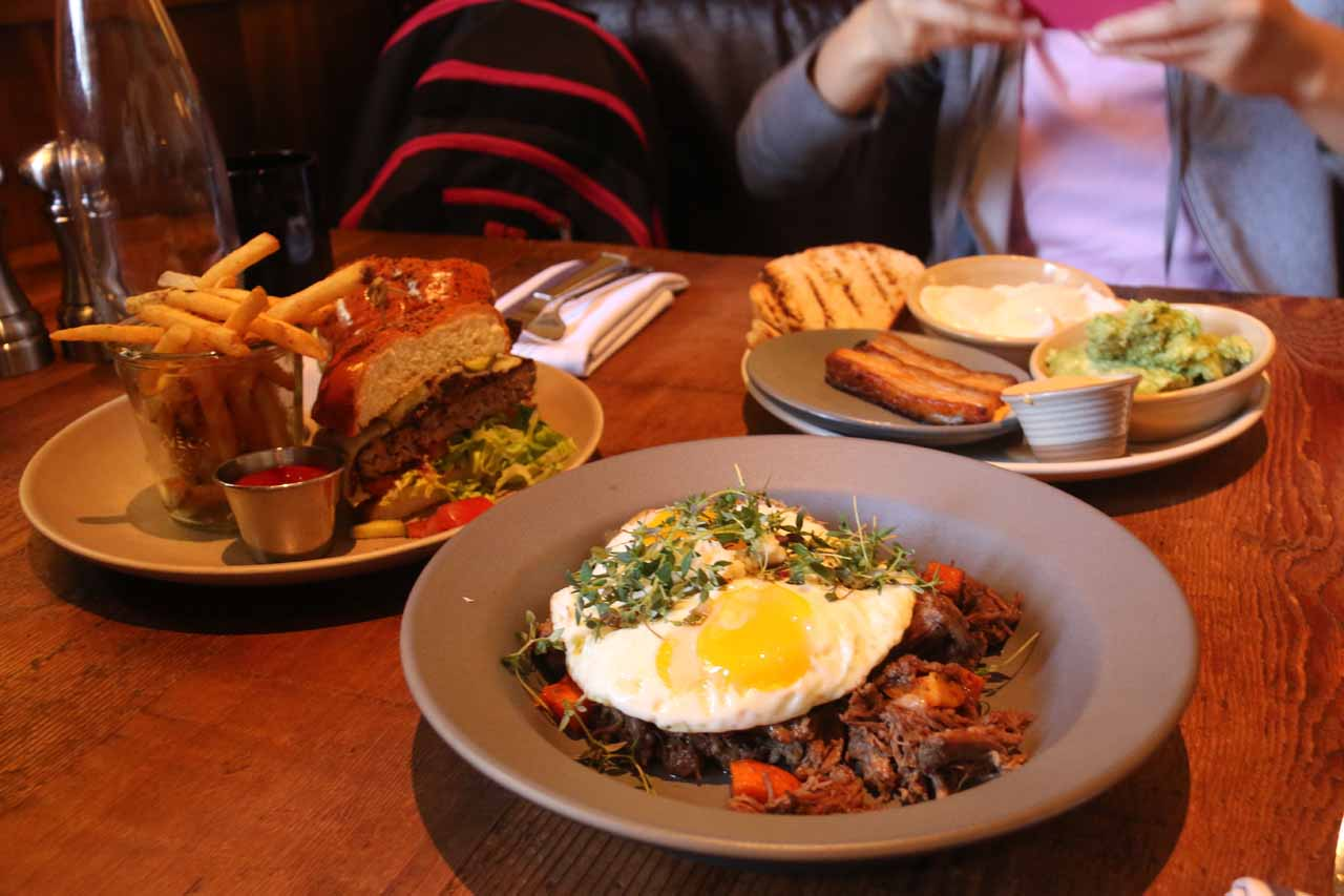 Checking out all of our dishes together while brunching at Finch and Fork