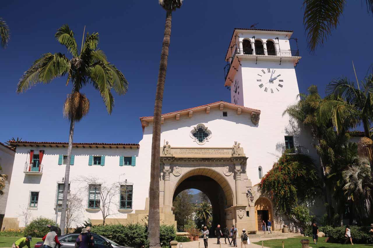 Direct look at the Santa Barbara Courthouse