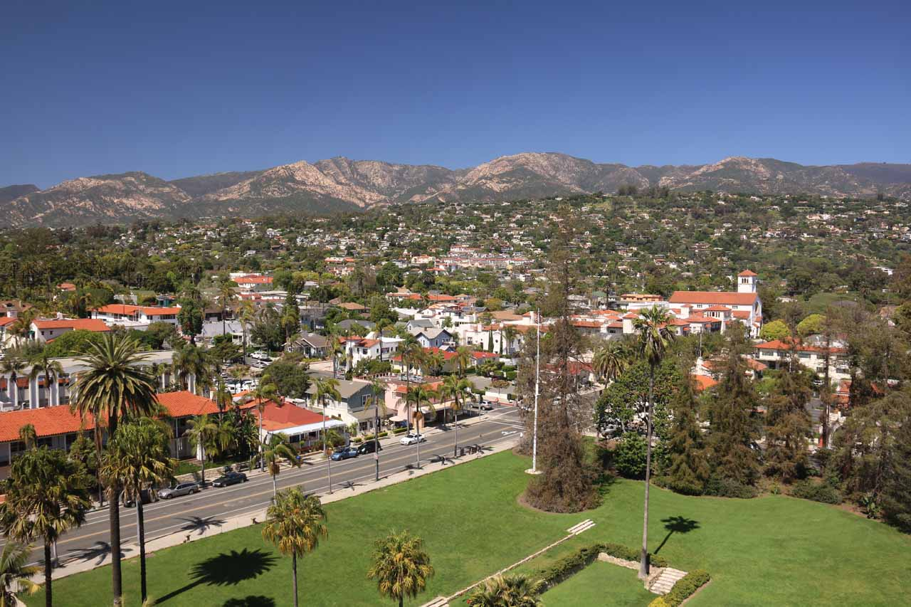 Gorgeous view from the clock tower of the Santa Barbara Courthouse looking towards the mountains backing the city