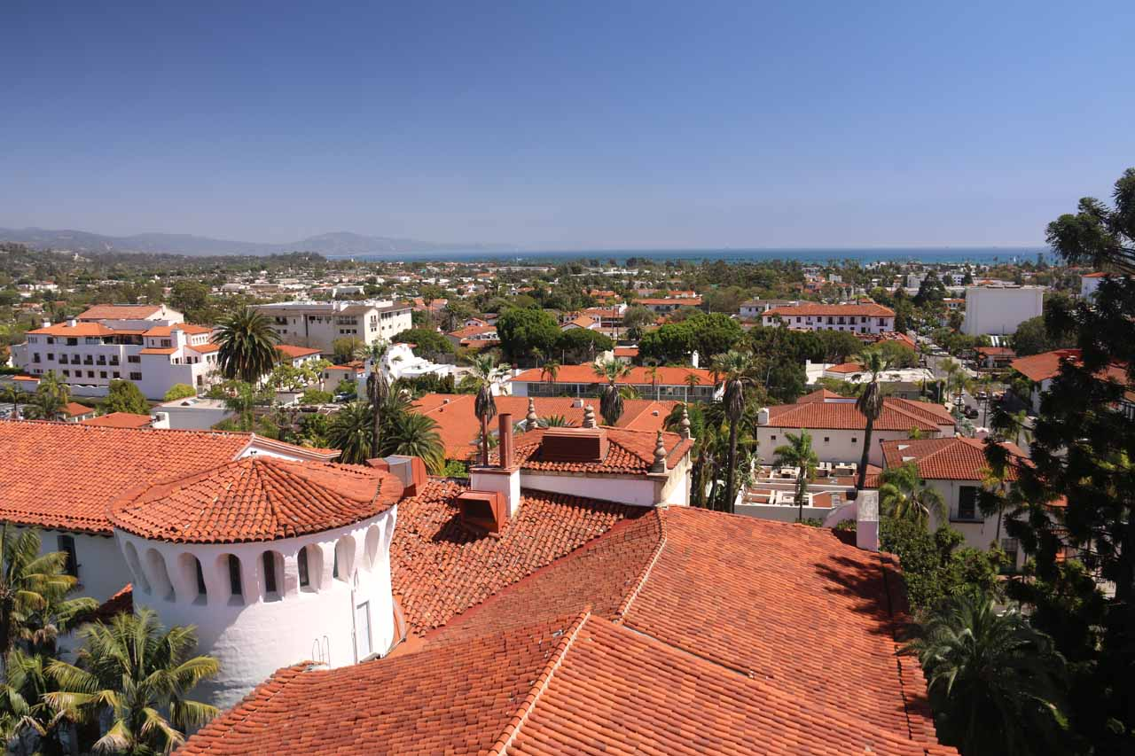 Looking towards the ocean from the clock tower at the Santa Barbara Courthouse