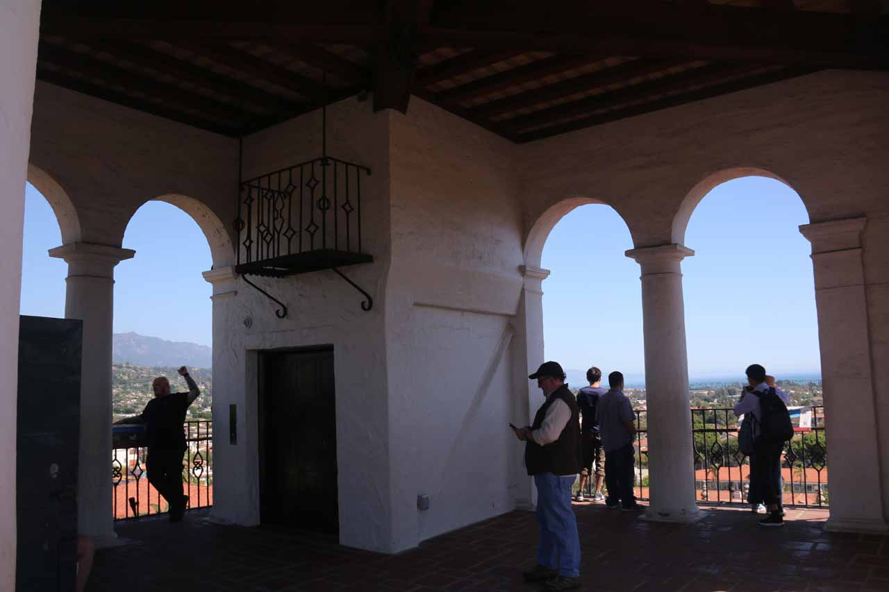 The observation deck of the clock tower of the Santa Barbara Courthouse