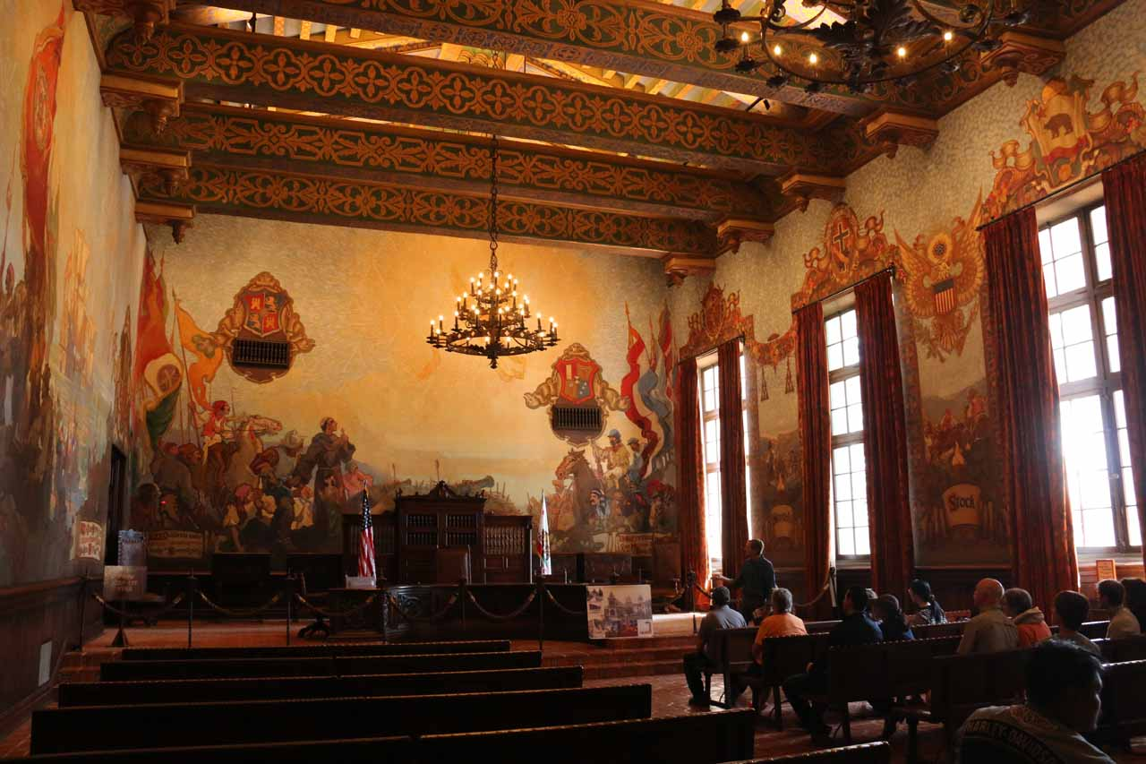 This was the first time that we entered one of the courtrooms, and this one was quite beautiful and reminiscent of our time in Spain a couple of years ago