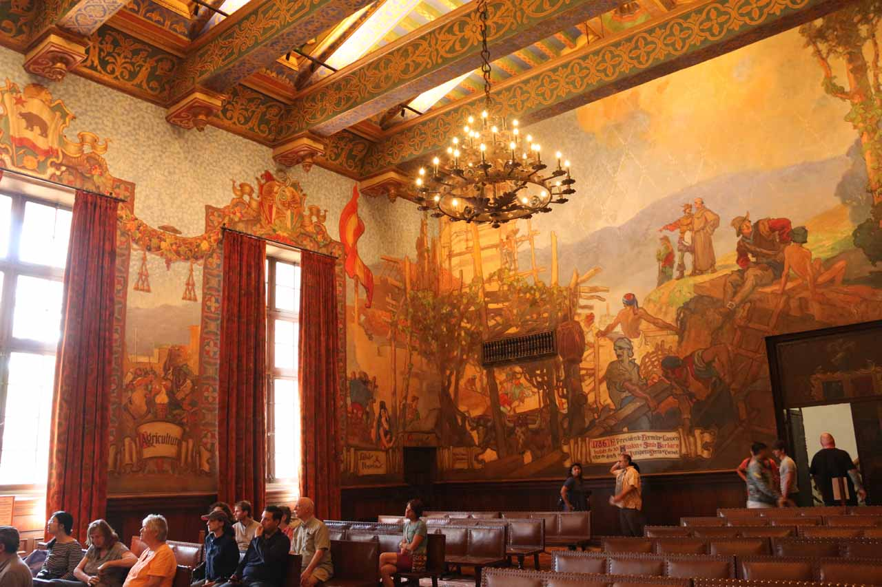 Another look at the ornate courtroom within the Santa Barbara Courthouse