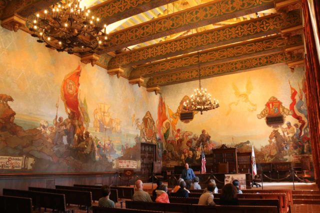 Santa_Barbara_17_129_04012017 - On a visit to the Santa Barbara Courthouse in 2017, one of the courtrooms was open for visitation, and as you can see here, the Spanish influence in the art and architecture was very apparent