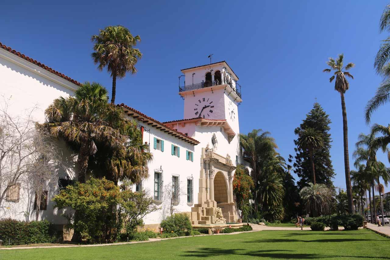 Last look at the attractive Santa Barbara Courthouse