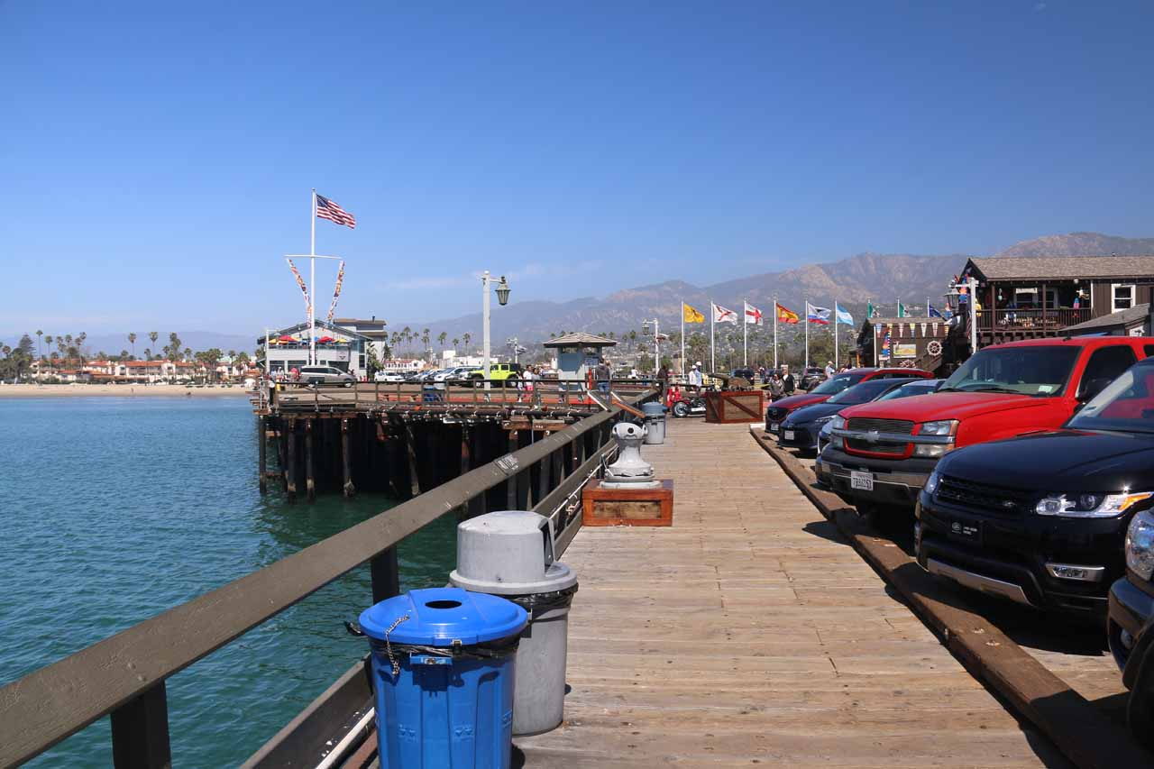 On the Stearns Pier in Santa Barabara, where they surprisingly had parking spaces let alone allowing cars to drive onto the pier itself!
