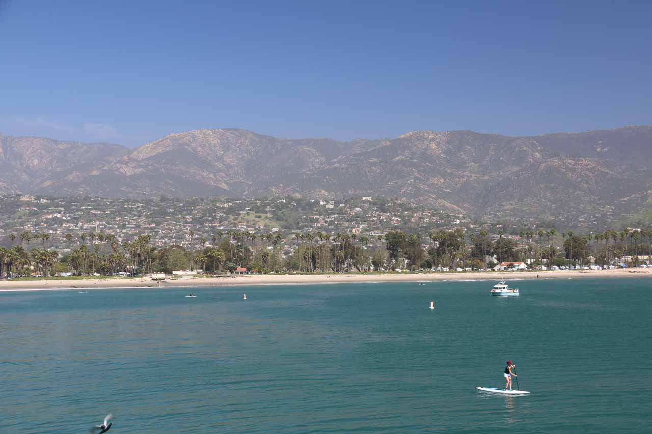 This was the view back towards Santa Barabara and its backing mountains from the end of the Stearns Pier