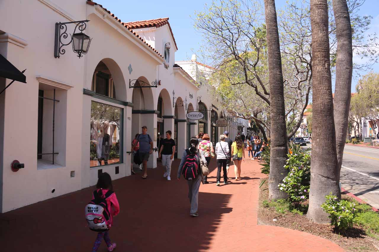 Julie and Tahia strolling along State Street again in downtown Santa Barbara as we went looking for Lilac Patisserie