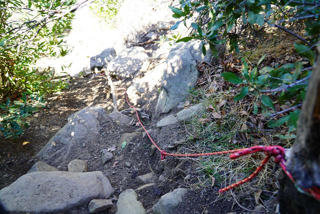 Santa_Paula_Canyon_186_02052021 - Someone tied up some rope at this steep descent from the Santa Paula Canyon Trail leading down to the base of the Santa Paula Canyon Falls though I didn't find the rope to be necessary