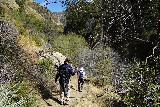 Santa_Paula_Canyon_320_03052021 - Mom and Dad carefully descending the steep parts of the East Fork Santa Paula Canyon as we were making our way back up to the Big Cone Camp