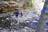 Santa_Paula_Canyon_324_03052021 - Mom and Dad traversing the East Fork Santa Paula Creek behind the blue-painted arrow