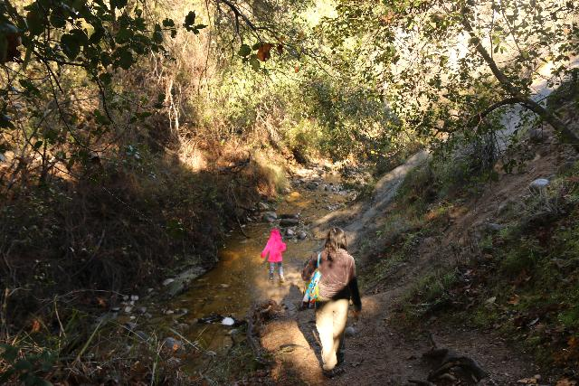 Santa_Ynez_Falls_075_01192019 - Tahia and Julie stream walking on the way to Santa Ynez Falls