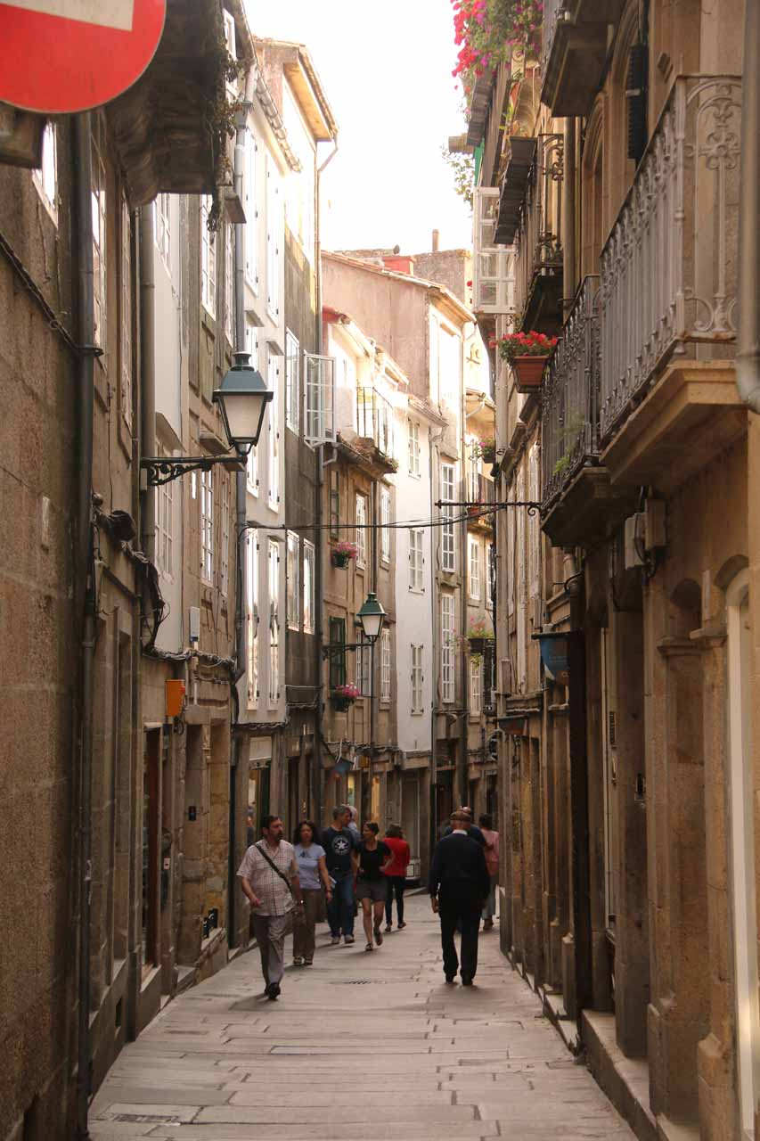 Navigating the narrow streets of the old town of Santiago de Compostela as we started to explore town