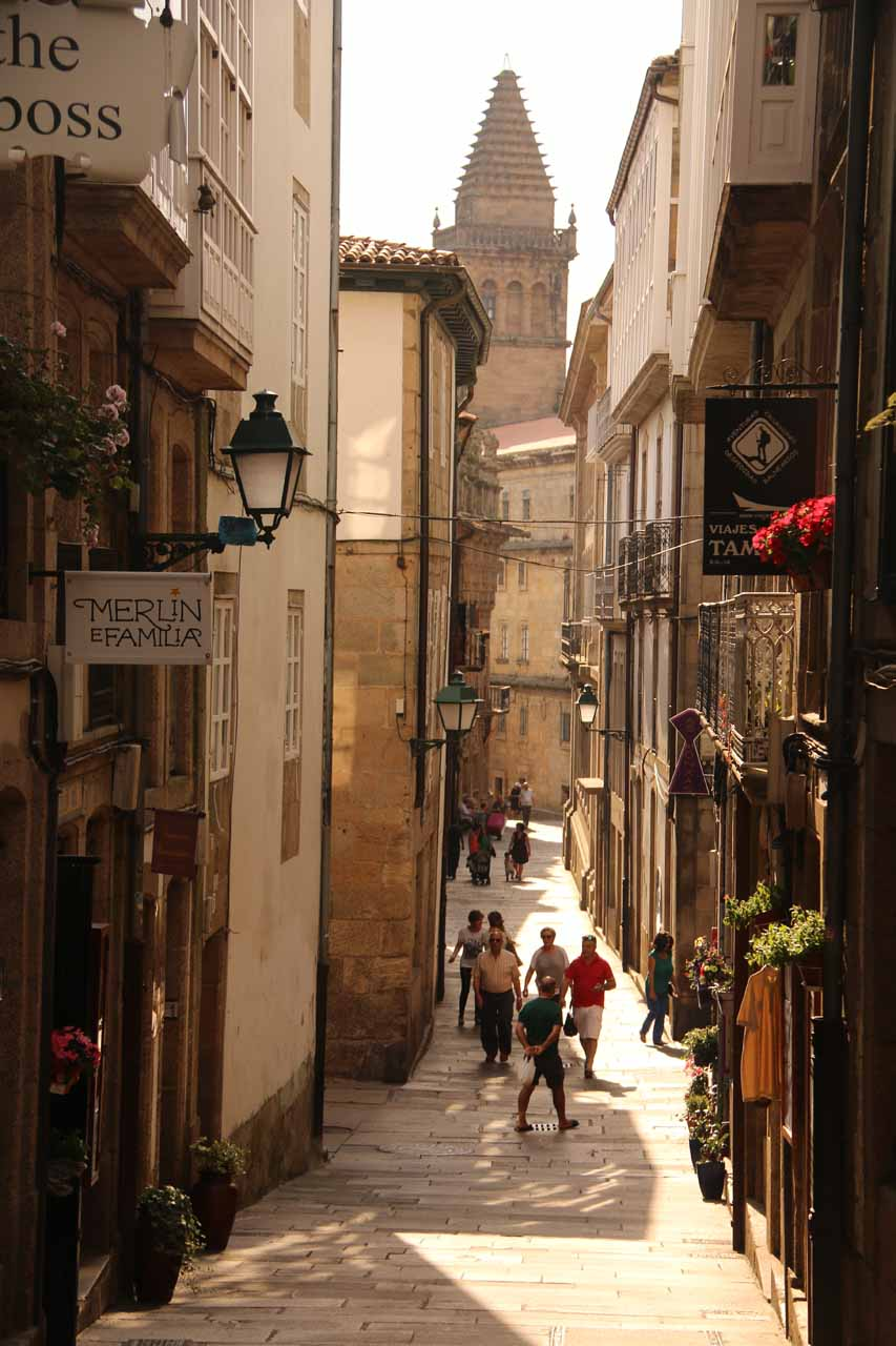 Approaching the Catedral de Santiago de Compostela as we approached some tower up ahead