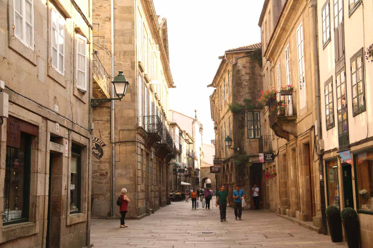 Navigating the narrow streets of the old town of Santiago de Compostela as we sought out our hotel