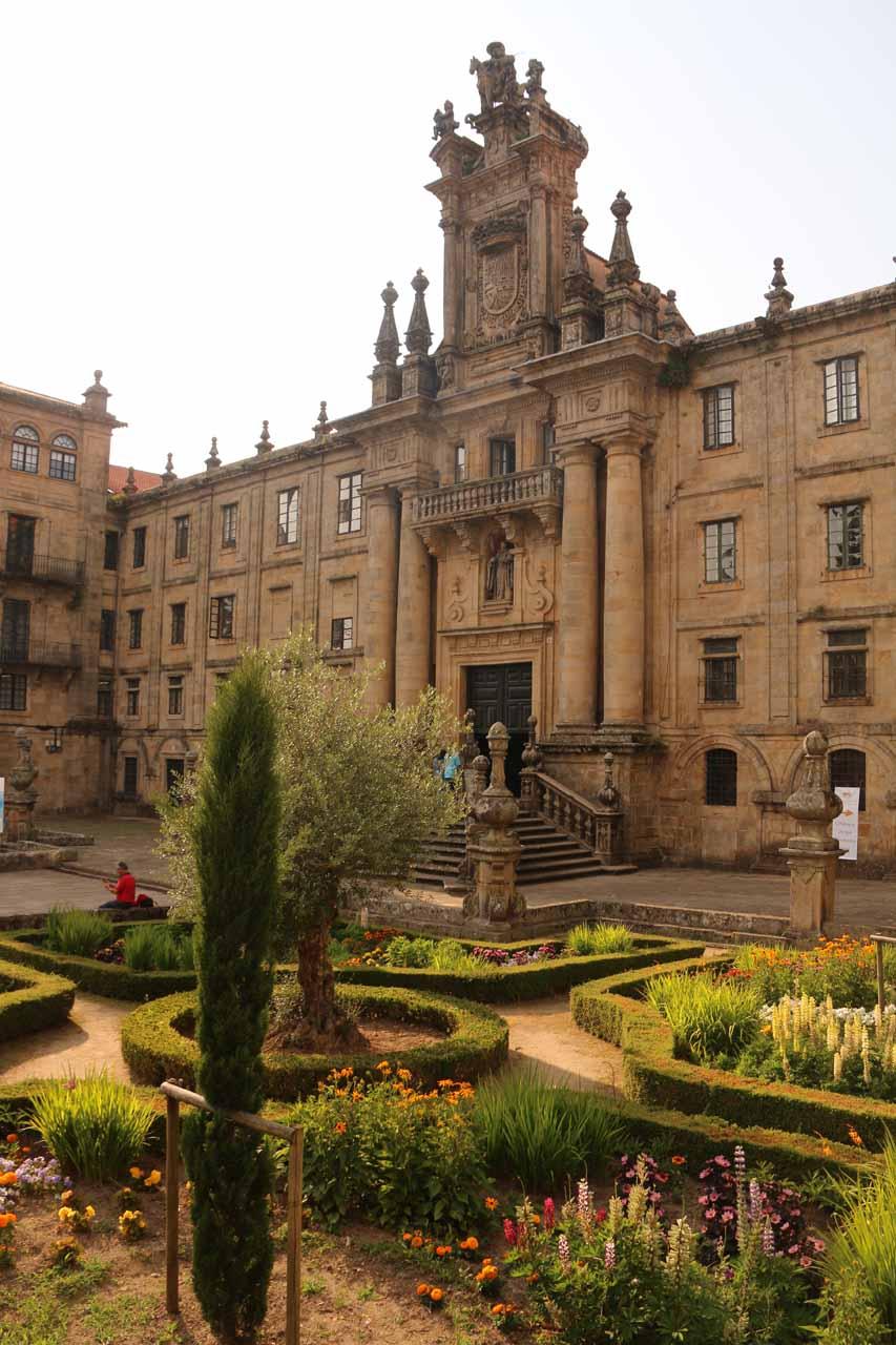 Looking over a garden towards the Convento de San Martino de Pinario at the Praza da Inmaculada
