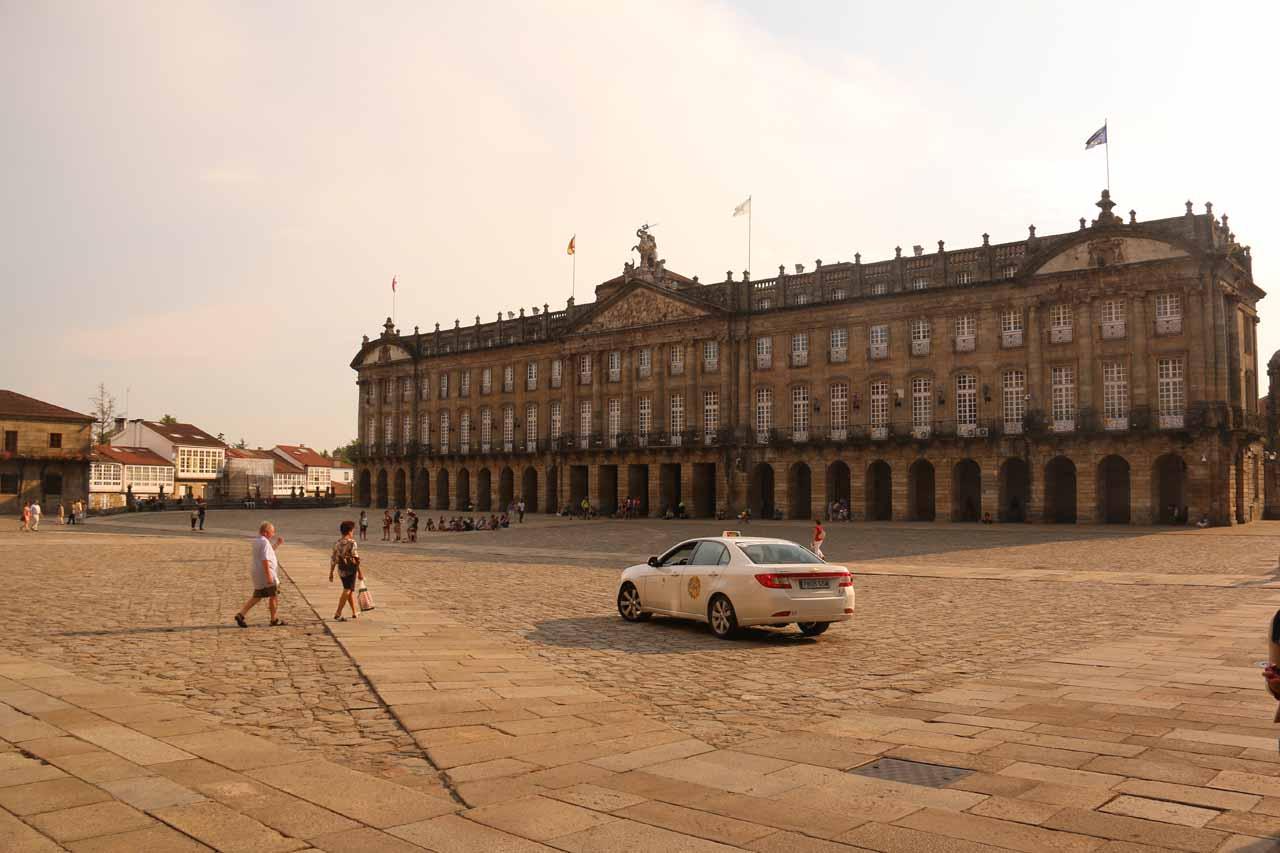 Looking across the wide open square of Praza do Obradoiro