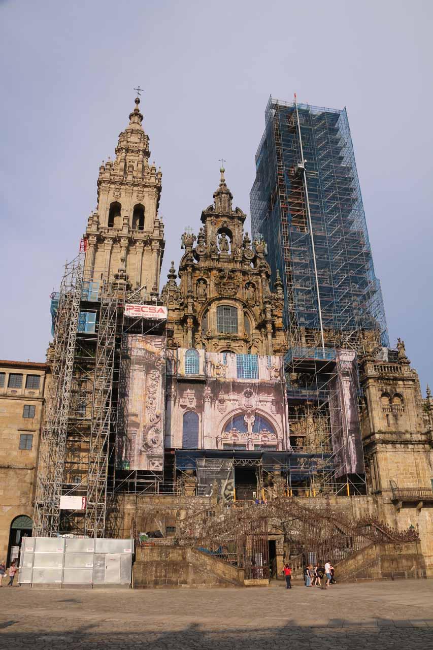 Looking back at the heavily scaffolded facade of the Catedral de Santiago de Compostela