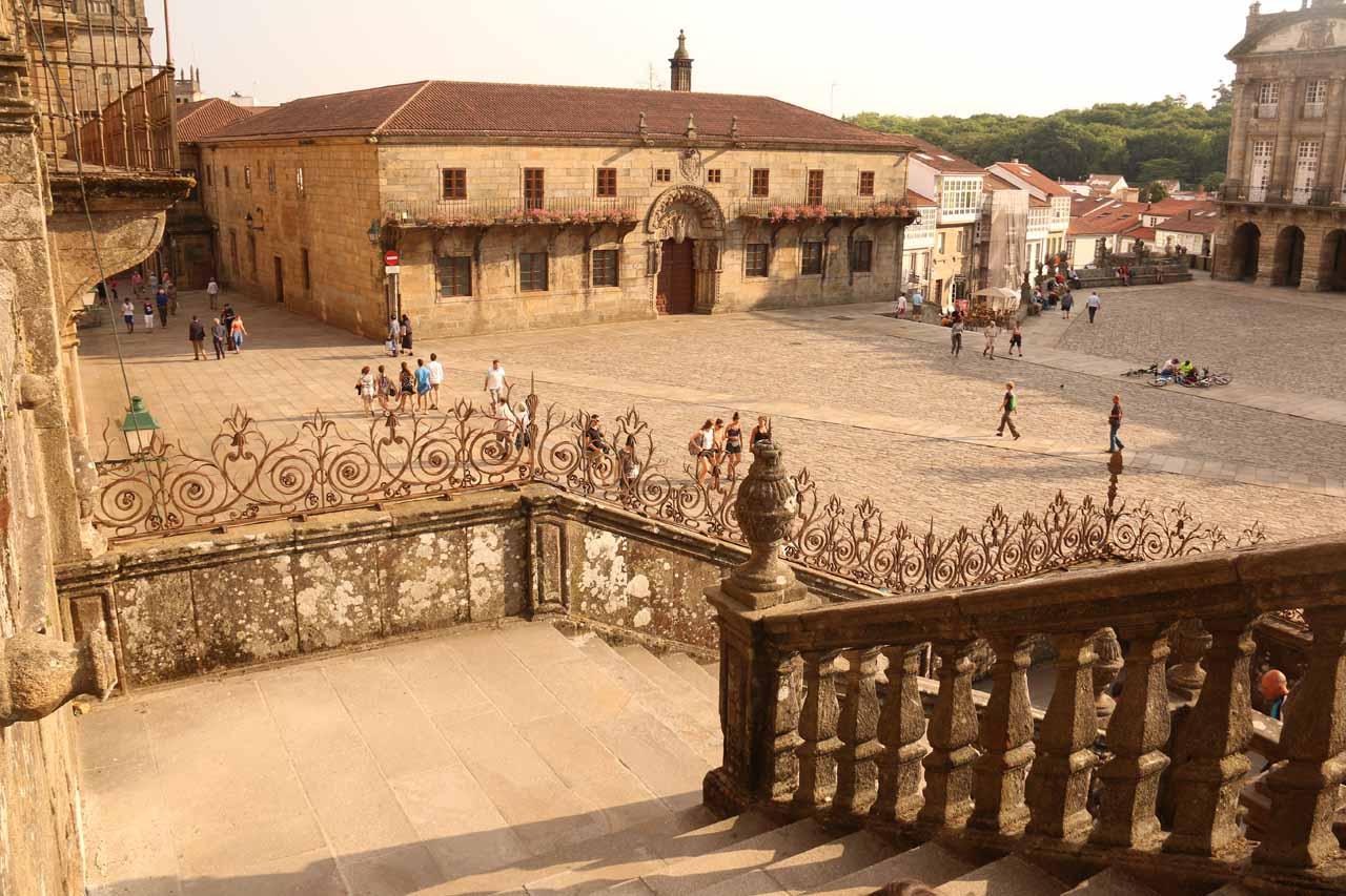 Heading down the steps of the base of Catedral de Santiago de Compostela