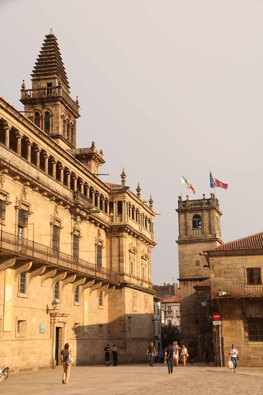 Walking across the Praza do Obradoiro towards the Rua do Franco