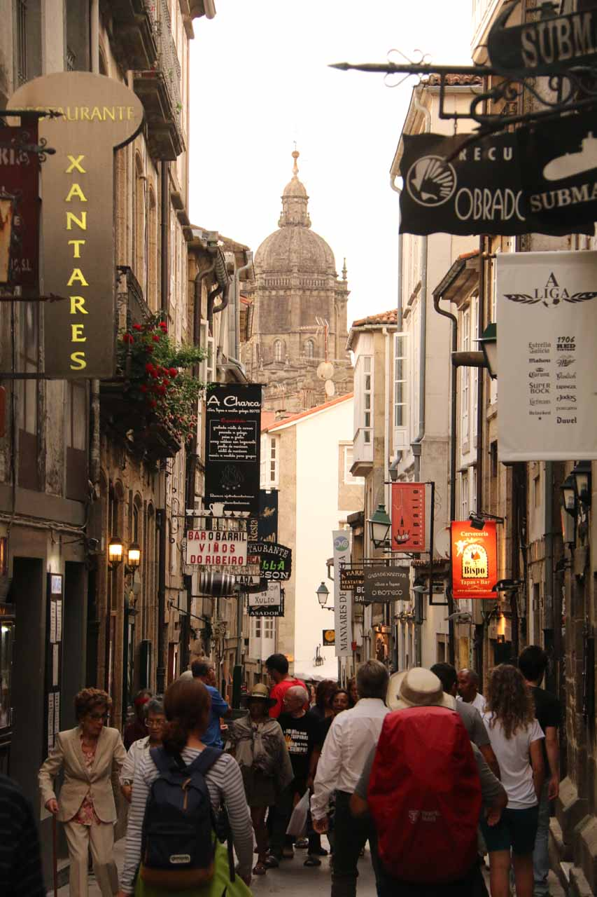 It was a bustling scene along the Rua do Franco in Santiago de Compostela
