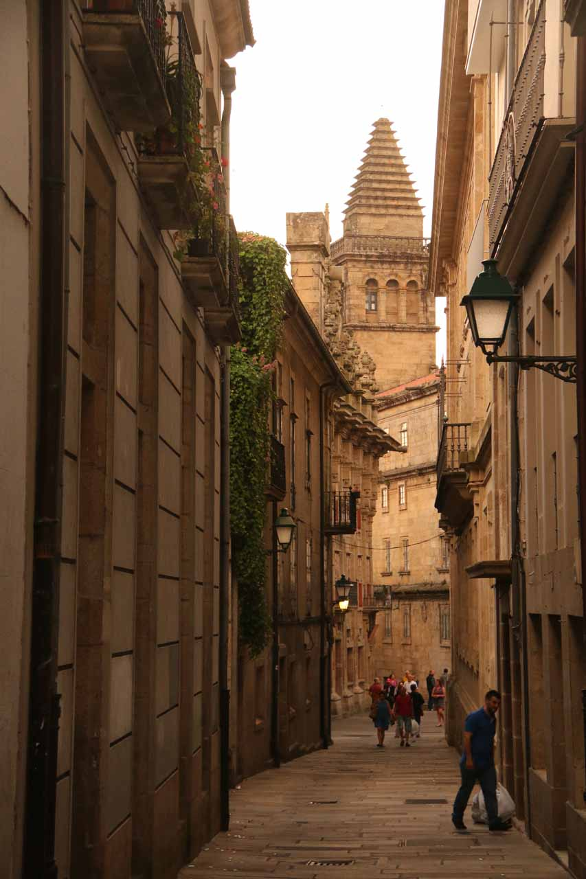 Looking back towards the tower that I think belongs to Pazo de San Xerome