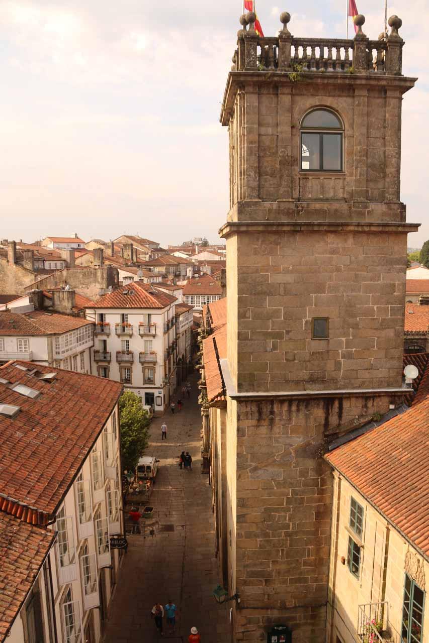 Looking down towards Rua do Franco and Pazo de San Xerome