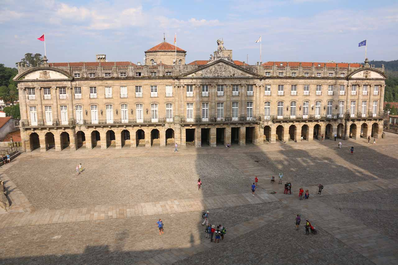 Looking directly across the Prazo do Obradoiro from the upper balcony of the museum