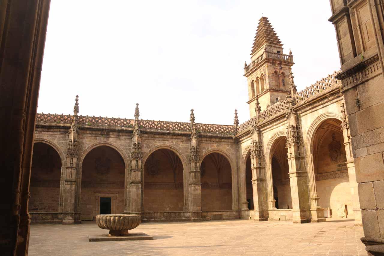 Looking across the courtyard within the Museo de Catedral de Santiago de Compostela