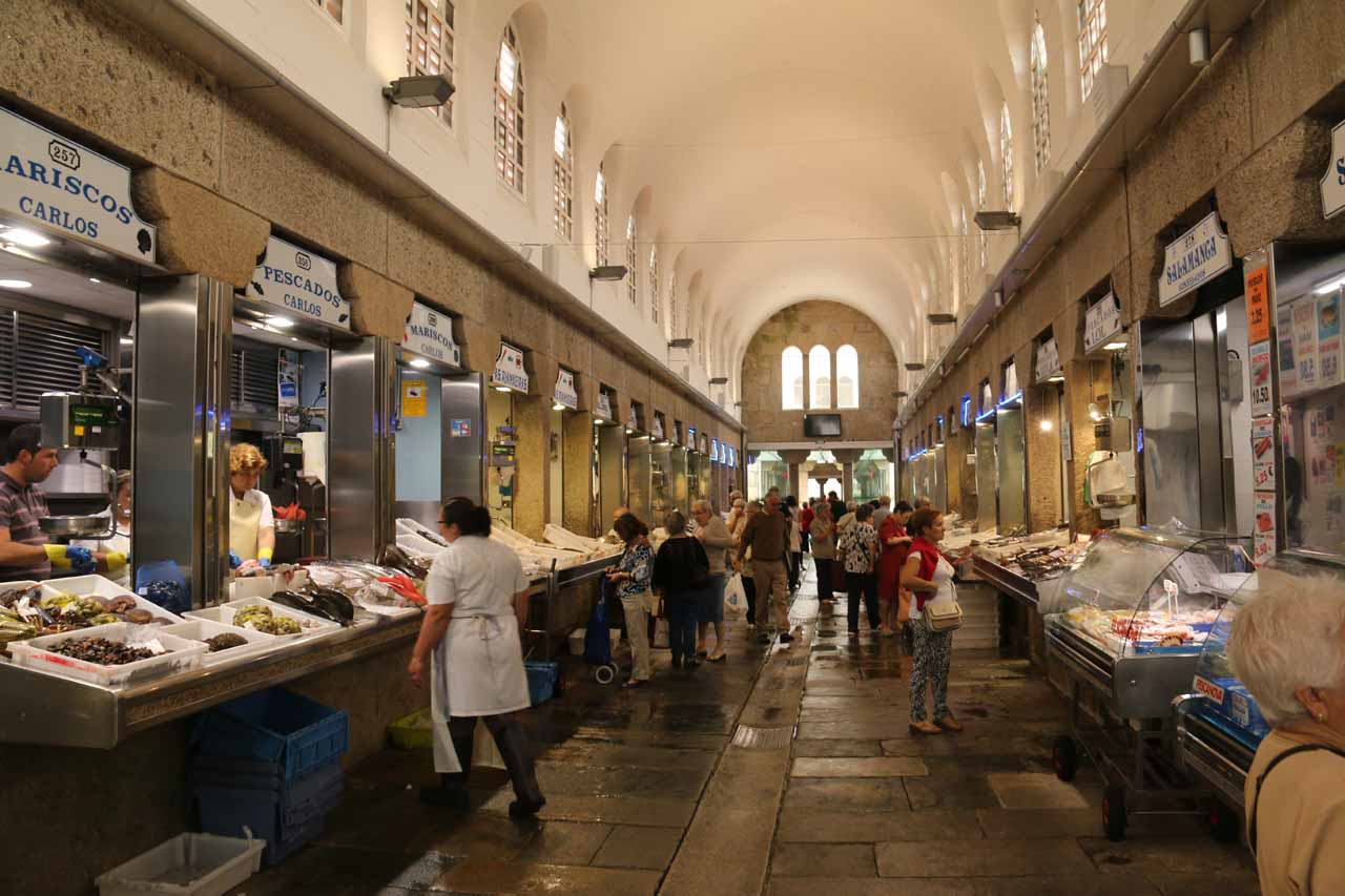 Checking out another fish market aisle within the Mercado de Abastos