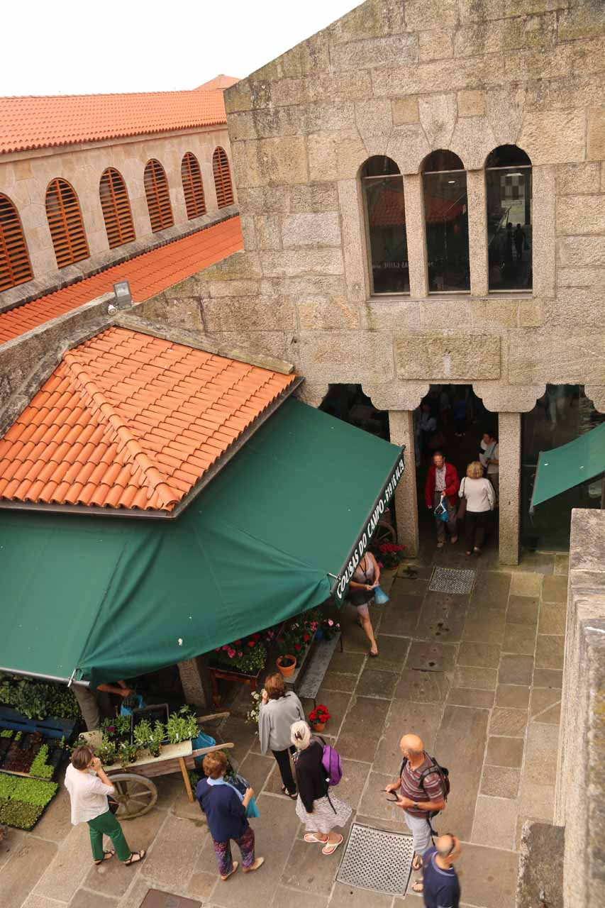 Looking down at the action within the Mercado de Abastos