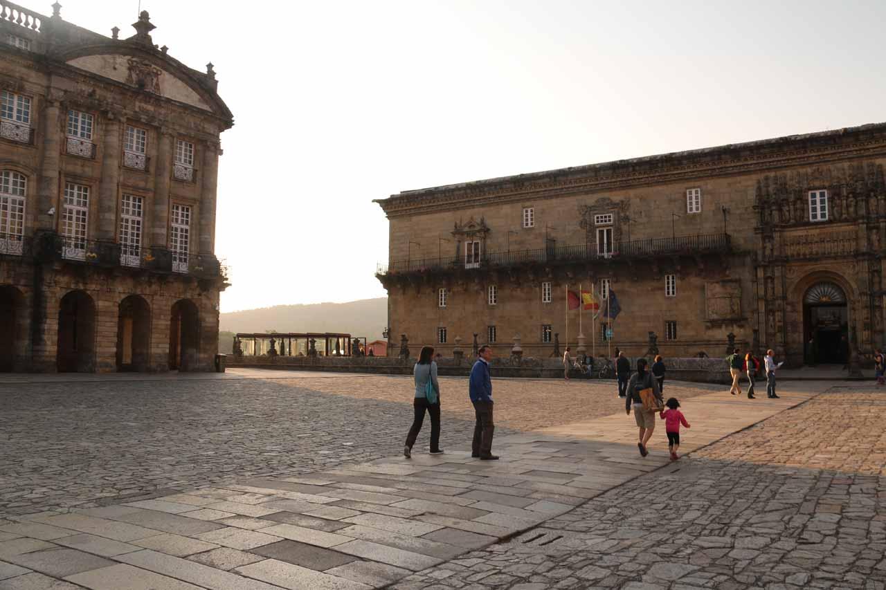 Walking across the Praza do Obradoiro in search of dinner for our last night in Santiago de Compostela