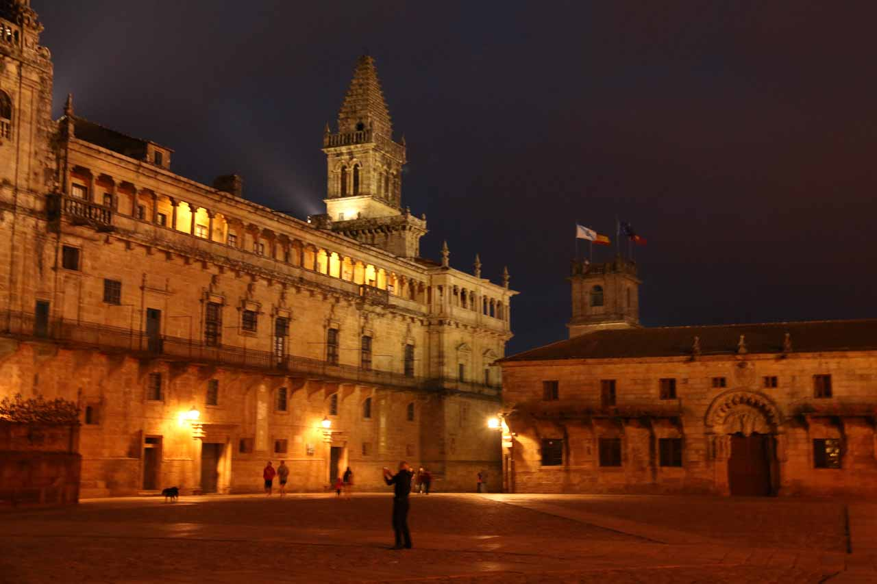 Back at the Praza do Obradoiro at night after dinner as it suddenly got cold