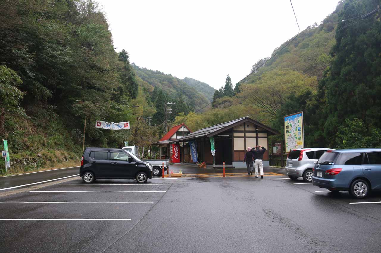 The car park for the Saruo Waterfall
