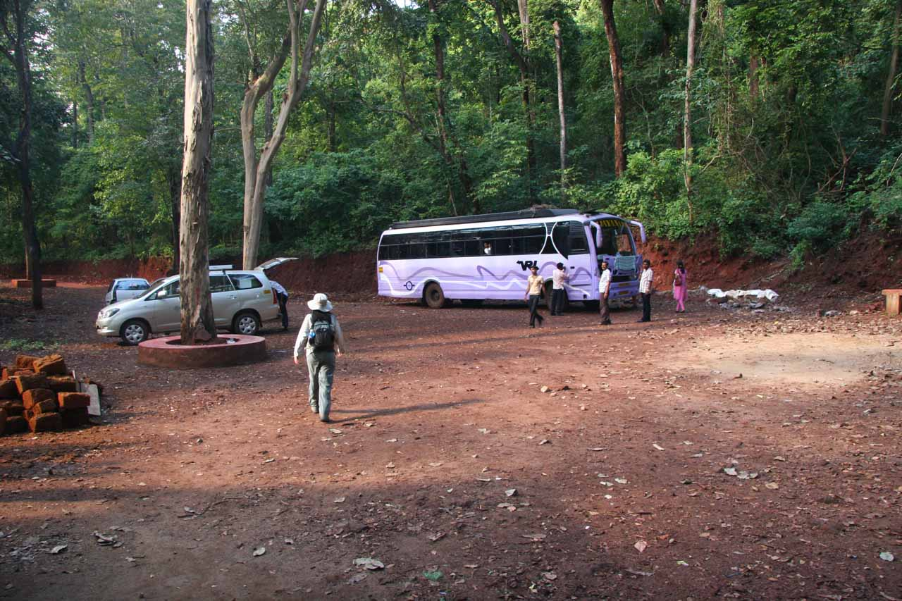 Our driver was certainly relieved when he reached this car park for Sathodi Falls